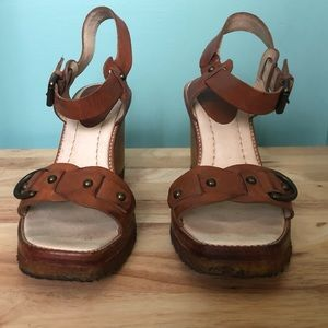 Frye wooden wedge sandals